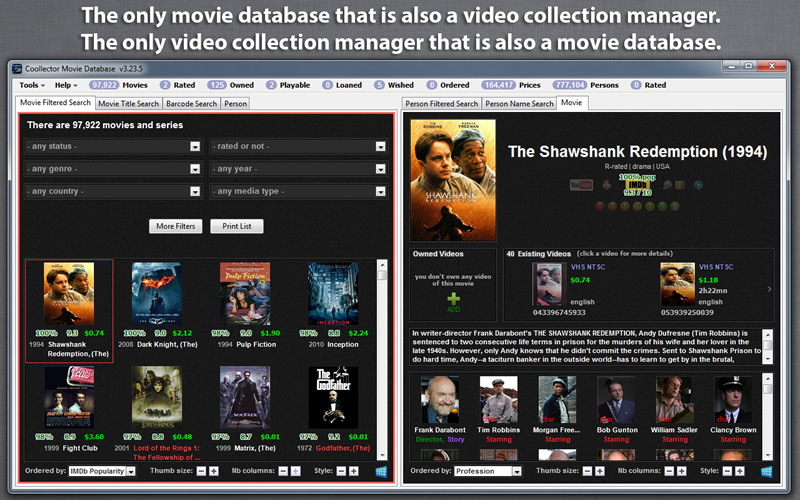 Click to view Coollector Movie Database 4.9.9.9 screenshot
