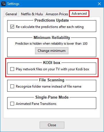 Kodi advanced settings