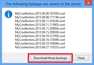 Download backups